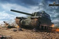 Picture The sky, WoT, Fog, World Of Tanks, Flame, Clouds, World of Tanks, Trees, Grass, Smoke, ...
