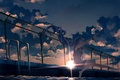 Picture the sky, girl, the sun, clouds, sunset, the fence, anime, pool, art, vocaloid, hatsune miku, ...
