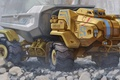 Picture dump truck, stones, Sci-Fi, truck, the front