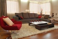 Picture style, sofa, room, interior, furniture, carpet, table, red, brown, chair, apples, design