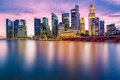 Picture backlight, bridge, skyscrapers, Singapore, home, Bay, the city, lights, Asia, the evening, Singapore