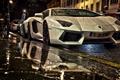 Picture White Aventador, Lamborghini Aventador under rain at night, Aventador in Street, Two Lamborghini, Aventaror, Two ...
