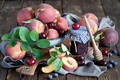 Picture berries, still life, jam, blueberries, peaches, cherry