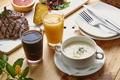 Picture juice, soup, meat, plates
