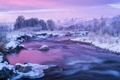 Picture Utah, snow, mountains, winter, the Provo river, ice, USA