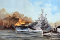 Picture ship, art, WW2, California, USS, glavnyy Kalibr, linear, sea, type Tennessee, smoke, BB-44, wave, figure, ...