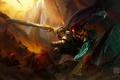 Picture art, warrior, katarina, battle, girl, lol, Kan Liu, League of Legends