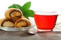 Picture glass, tea, Mac, spoon, Cup, saucer, buns, tea