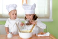 Picture eggs, child, cream, cook, girl, cooks, cream, table, spices, Children, spices, chef, boy, girl, cup, ...