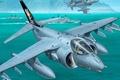 Picture stormtroopers, multipurpose, ships, Harrier II, AV-8B, Bay, shore, McDonnell-Douglas, figure, water, combat, the sky, aircraft