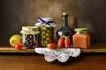 Picture napkin, bottle, table, preserving, background, vegetables, citrus, dishes