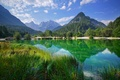 Picture trees, mountains, lake, reflection, Slovenia, Slovenia, Kranjska Gora, Lake Jasna, Kranjska Gora, The Julian Alps, ...