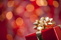 Picture New Year, holidays, box, gift, gift, winter, gold, red, bokeh, New Year, Christmas, bow, Christmas