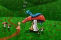 Picture caterpillar, mushrooms, trail, Alice