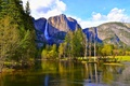 Picture mountains, waterfall, trees, Yosemite National Park, river, CA, forest, USA