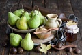 Picture chestnuts, jar, leaves, still life, fruit, Anna Verdina, honey, pear, autumn