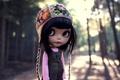 Picture street, doll, bangs, eyes, hat, hair