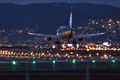 Picture lights, landing, Airbus, night, the plane, airport