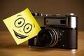 Picture macro, smile, retro, creative, positive, the camera, smile, note, camera, camera, hi-tech, bokeh, wallpaper., technology, ...