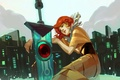 Picture art, Red, JenZee, the city, Transistor, red hair, girl, sword