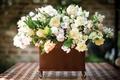 Picture vase, blur, table, bouquet, roses, white