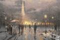 Picture flag, Park, snow, megapolis, winter, city, art, lights, flag, building, park, snow, painting, Boston, painting, ...