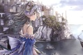 Picture girl, ship, Atelier Rorona, art Kishida Mel, home, Hom, shore, sea, rocks