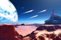 Picture stars, planet, spaceships, desert, mountains, mars, sky