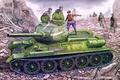 Picture russian tank, tank, ww2, painting, T-34/85, war, art