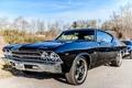 Picture grass, Chevrolet Chevelle SS 396, black, car, sky, blue, USA