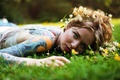 Picture grass, look, girl, flowers, face, tattoo, wreath, bokeh