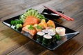 Picture sushi, sushi, fish, sauce, rolls, figure, fish, greens, Japanese, rolls, seafood, Japan