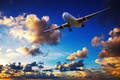 Picture passenger, in the sky, flight, airliner, flies, clouds, sunset
