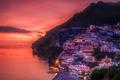 Picture sea, mountains, night, lights, rocks, Italy, Positano