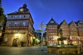 Picture Germany, home, Herborn, Market, Place, index, night, lights, fountain