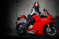 Picture red, Ducati, Ducati, bike, girl