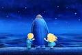 Picture stars, children, draw, children, nature, illustration, blue, night, waves, night, the ocean, ocean, blue, stars