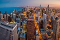 Picture Chicago, skyline, sunset, panorama, downtown, John Hancock Center Observatory