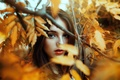 Picture look, girl, lips, lipstick, eyes, face, leaves