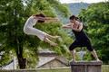 Picture girls, flight, blow, martial art