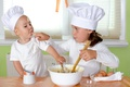 Picture eggs, child, cream, cook, girl, cooks, cream, table, Children, chef, boy, girl, cup, table, Cup, ...