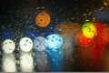 Picture glass, drops, light, lights, rain, colorful, bokeh