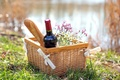 Picture bottle, nature, baguette, wine, red, chamomile, picnic, basket