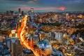 Picture Tokyo, Japan, road, panorama, night city, Japan, Tokyo, building, sunset