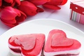 Picture holiday, gift, bouquet, heart, hearts, sweet, tulips, Red, two hearts, dessert