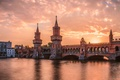 Picture sunset, bridge, river, the evening, Berlin, The upper tree bridge