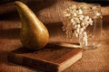 Picture flowers, style, background, book, pear, still life