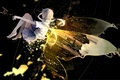 Picture the sky, girl, night, the city, lights, height, wings, anime, art, vocaloid, luo tianyi, bou ...