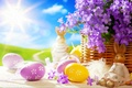 Picture the sun, flowers, eggs, spring, rabbit, Easter, figurine, Easter