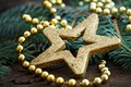 Picture New Year, beads, holidays, toys, decoration, New Year, Christmas, gold, Christmas, star, gold, the scenery